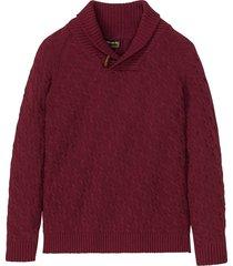 pullover a trecce con cotone riciclato (rosso) - bpc selection