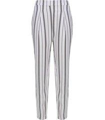 pantalón mujer a rayas con bolsillo color blanco, talla 14