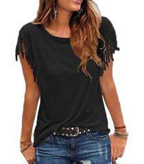 women cotton tassel casual blouses short-sleeved shirts o-neck clothing blouse