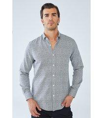 overhemd lange mouw boris becker aldo micro patterned shirt