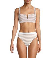 l*space by monica wise women's lee lee striped bikini top - white - size 34 d