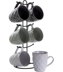 elama diamond waves mug set with stand, 6 pieces