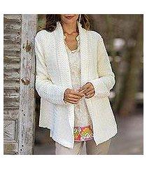 cotton cardigan, 'zigzag knit in white' (thailand)