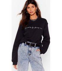 womens c'est le fuckin' vie graphic sweatshirt - black