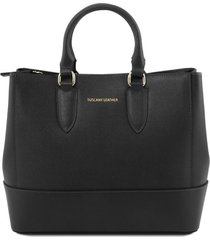 tuscany leather tl141638 tl bag - borsa a mano in pelle saffiano nero