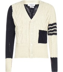 thom browne 4-bar cable-knit wool and mohair cardigan