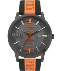 versus by versace men's barbes solar black & orange canvas strap watch 44mm