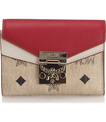 mcm visetos colorblock patricia trifold wallet white, ivory, red sz: