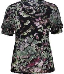 camiseta manga corta estampado mariposas color negro, talla 22