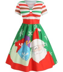 plus size christmas santa claus striped a line dress