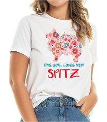 t-shirt loves spitz flowers feminina - feminino