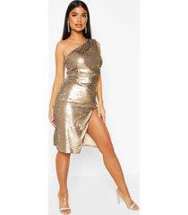 petite one shoulder sequin midi dress, gold