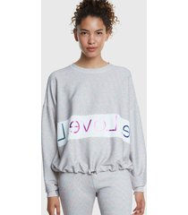 sweater desigual sweat lurex studio gris - calce holgado