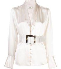 nicholas belted satin blouse - white