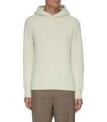 rib knit cashmere hoodie
