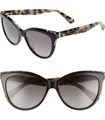 women's kate spade new york daeshas 56mm polarized cat eye sunglasses - black havana polar