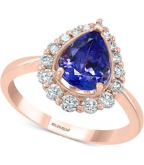 effy tanzanite (1-1/2 ct.t.w.) & diamond (3/8 ct. t.w.) ring in 14k rose gold