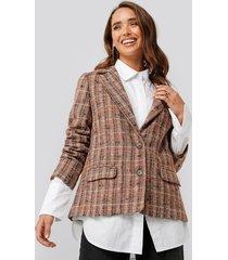 na-kd classic straight fit checked blazer - multicolor