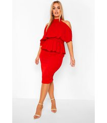 plus peplum midi jurk met open schouders, rood