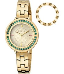 furla women's club gold dial stainless steel watch