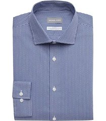 michael kors men's navy check slim fit dress shirt - size: 14 1/2 32/33