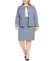 le suit plus size chevron tweed skirt suit