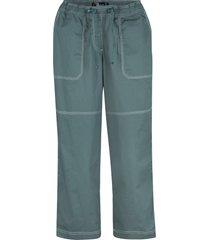 pantaloni capri con impunture a contrasto e cinta comoda (verde) - bpc bonprix collection
