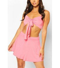 petite tie front top & shorts co-ord, coral