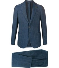 lardini chambray single breasted blazer - blue