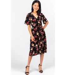 camdyn floral wrap midi dress - black