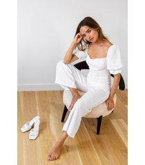womens sunday best linen puff sleeve jumpsuit - white
