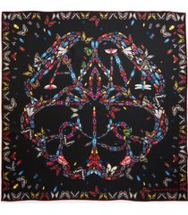women's alexander mcqueen butterfly logo bandana scarf