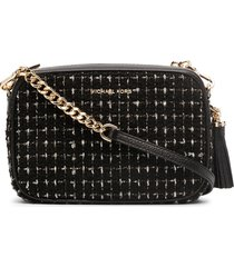 michael michael kors jet set tweed crossbody bag - black