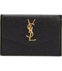 women's saint laurent uptown pebbled leather flap card case - black