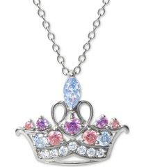 """disney multicolor cubic zirconia tiara 18"""" pendant necklace in sterling silver"""