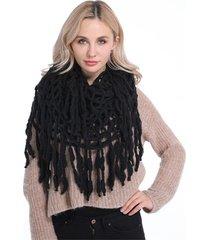 donna sciarpa ad anello in maglia all'uncinetto con frange alla moda