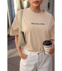 na-kd ekologisk ekologisk t-shirt med tryck - beige