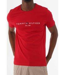 tommy hilfiger logo t-shirt - haute red mw0mw11465