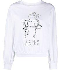 alberta ferretti aries crystal-embellished sweatshirt - white