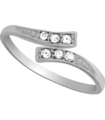 sterling silver crystal bypass adjustable toe ring