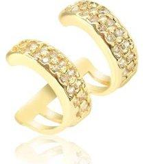 piercing de pressão piuka hannah 2 argolas zirconia cristal folheado a ouro 18k - feminino