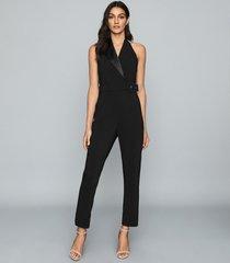 reiss belinda - tux detail halterneck jumpsuit in black, womens, size 12