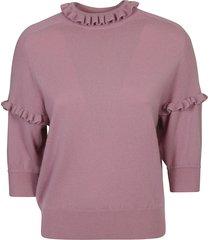 chloé ruffled collar plain sweater