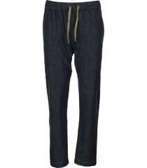brunello cucinelli dark polished denim track trousers with shiny stitch denim blue