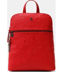 square backpack logo relief - red - u