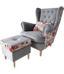 fotel uszak z podnóżkiem velvet mustang