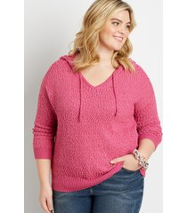 maurices plus size womens solid hooded pullover sweater purple