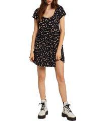 women's volcom beach floral print minidress, size medium - black