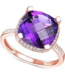 amethyst (4-7/8 ct. t.w.) & diamond (1/4 ct. t.w.) statement ring in 14k yellow gold (also in blue topaz & citrine)