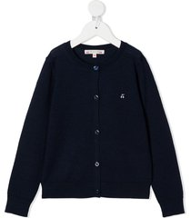 bonpoint embroidered cherry cardigan - blue